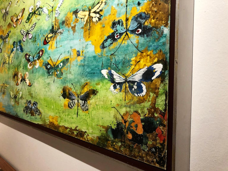Generations, encaustic and mixed media painting, butterflies, turquoise, yellow - Painting by Chris Reilly