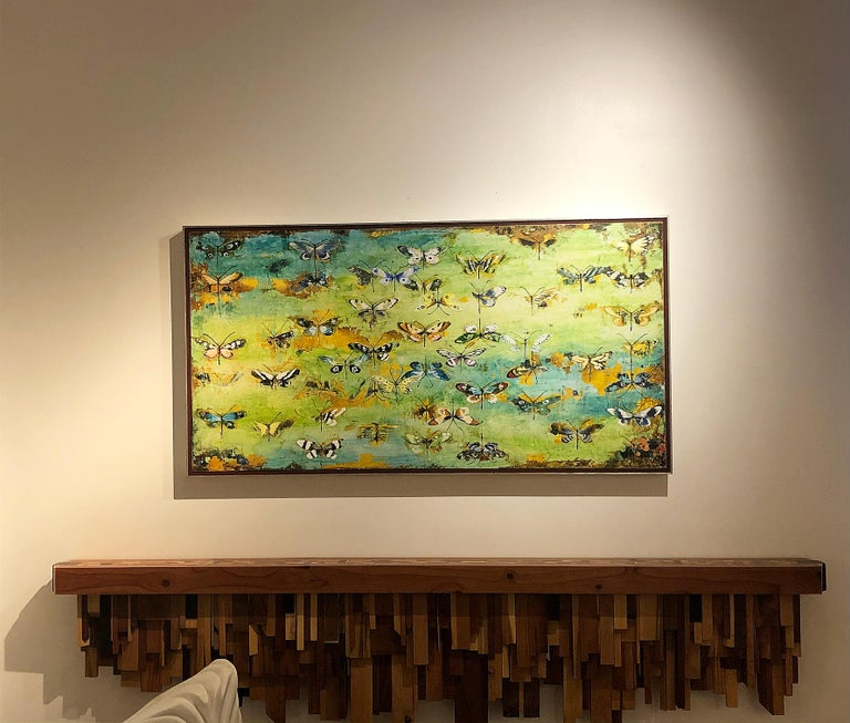 Generations, encaustic and mixed media painting, butterflies, turquoise, yellow - Contemporary Painting by Chris Reilly