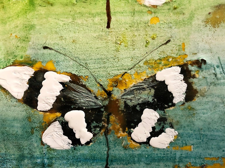 Welcome to artist Chris Reilly's world. The artist lives to bring insects such as butterflies and dragonflies into interior spaces. This painting is colorful with butterflies. Encaustic and acrylic on pane, signed and dated on reverse.