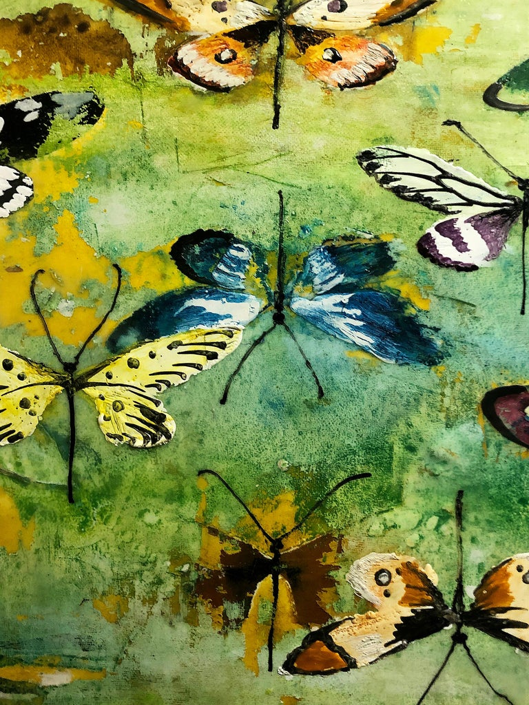 Generations, encaustic and mixed media painting, butterflies, turquoise, yellow For Sale 1