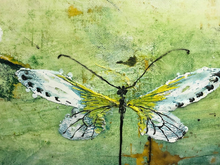 Generations, encaustic and mixed media painting, butterflies, turquoise, yellow For Sale 2