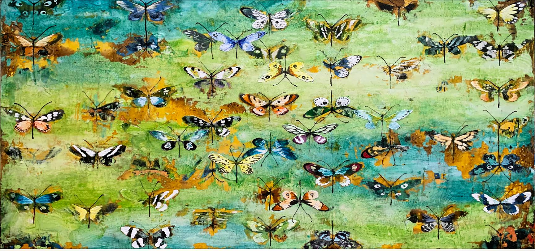 Generations, encaustic and mixed media painting, butterflies, turquoise, yellow