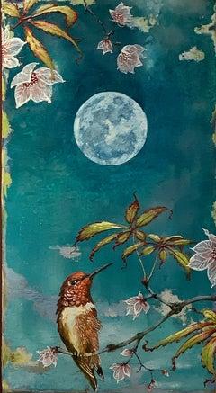 Untitled, Encaustic Hummingbird Painting