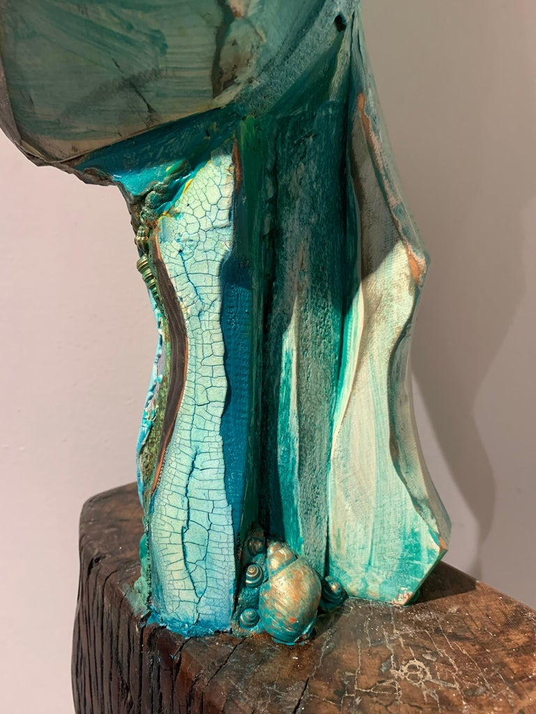 Listening, wood, acrylic, mixed media sculpture, green, blue, off white, brown For Sale 5