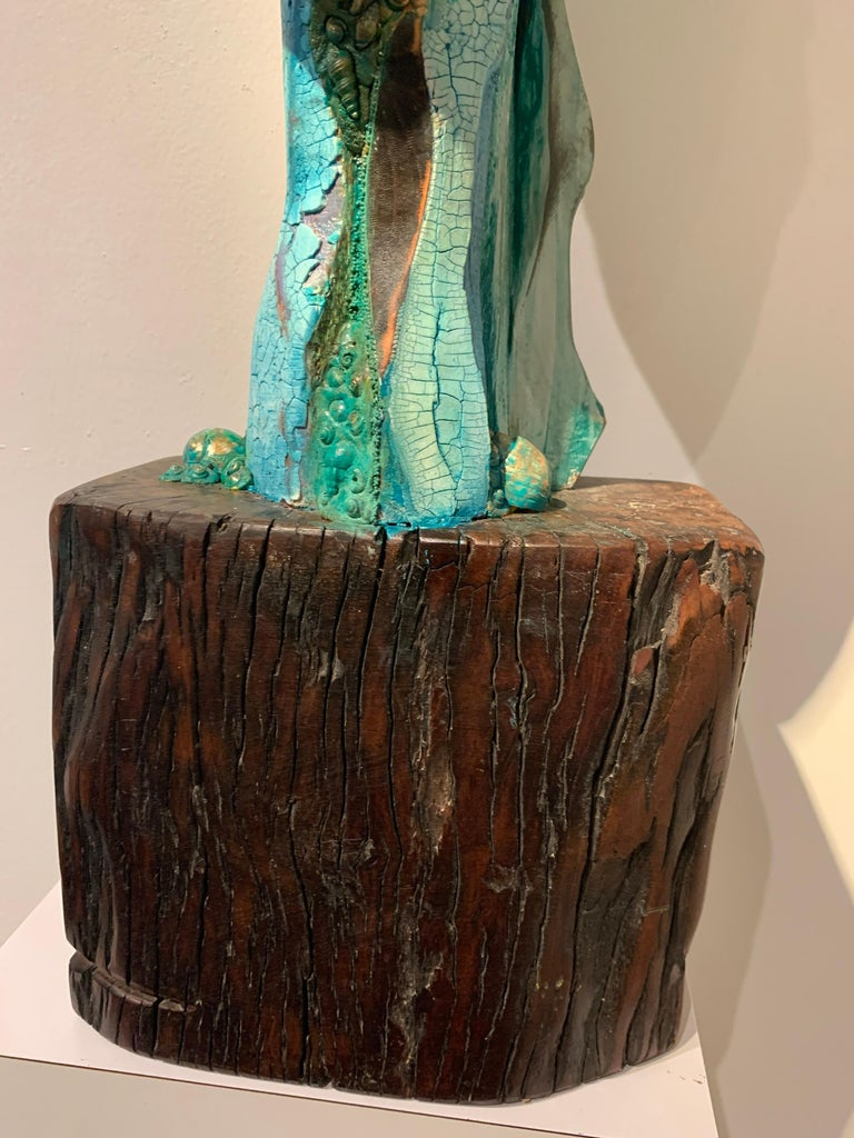 Listening, wood, acrylic, mixed media sculpture, green, blue, off white, brown For Sale 6