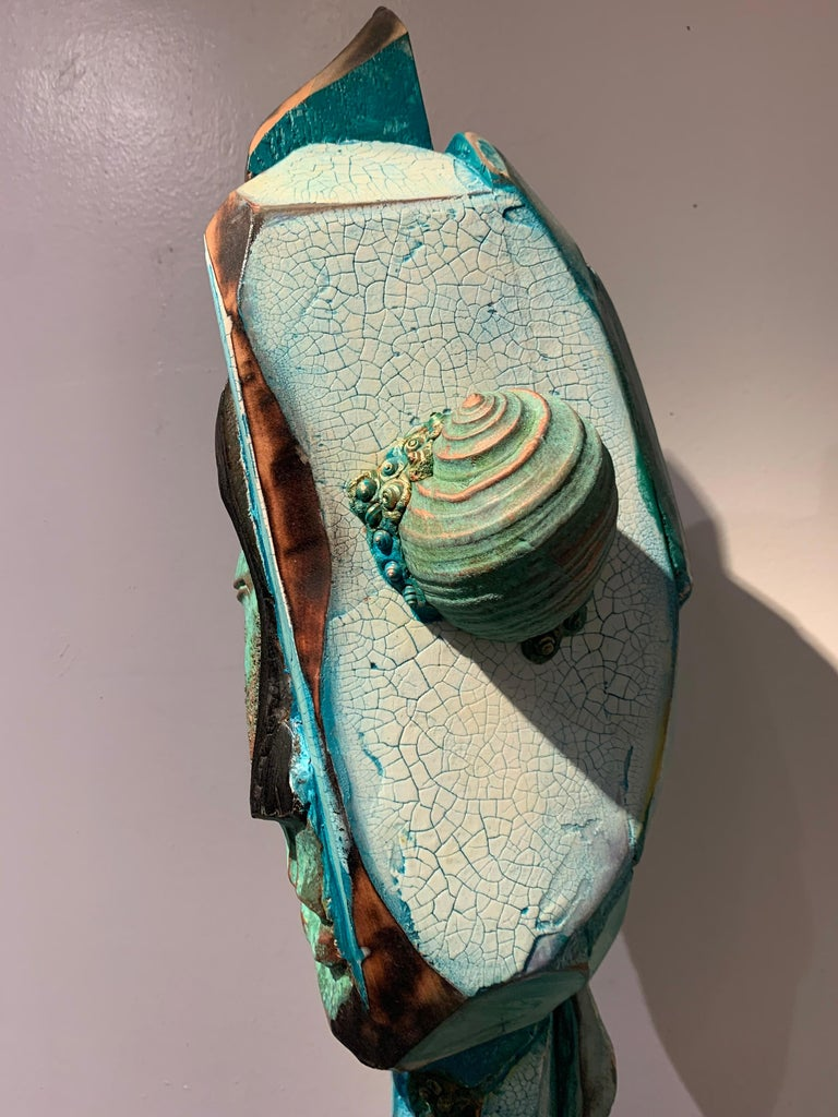 Listening, wood, acrylic, mixed media sculpture, green, blue, off white, brown For Sale 7