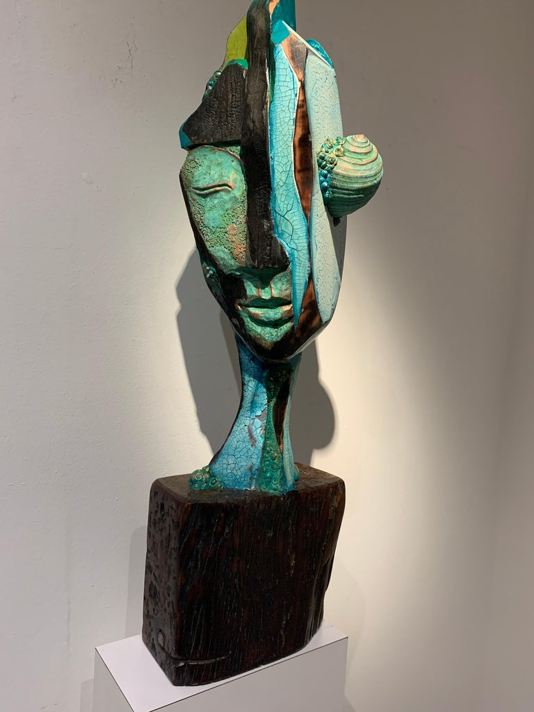 Listening, wood, acrylic, mixed media sculpture, green, blue, off white, brown For Sale 8