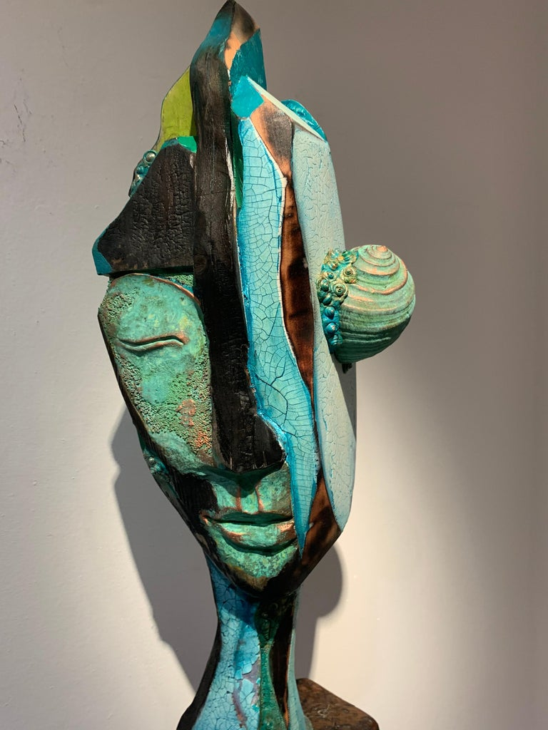 Listening, wood, acrylic, mixed media sculpture, green, blue, off white, brown For Sale 9