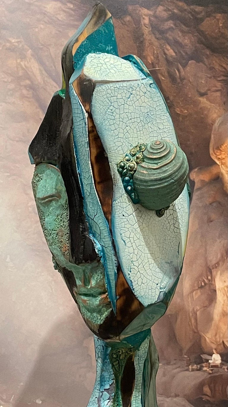 Listening, wood, acrylic, mixed media sculpture, green, blue, off white, brown - Sculpture by Chris Reilly