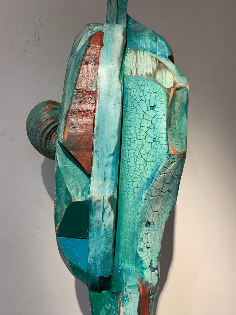 Listening, wood, acrylic, mixed media sculpture, green, blue, off white, brown For Sale 1