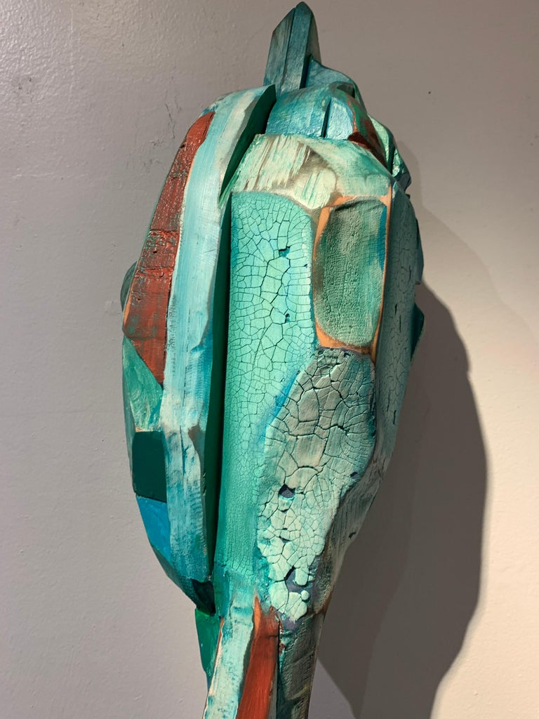 Listening, wood, acrylic, mixed media sculpture, green, blue, off white, brown For Sale 2
