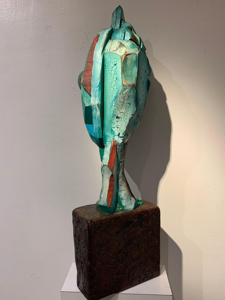 Listening, wood, acrylic, mixed media sculpture, green, blue, off white, brown For Sale 3