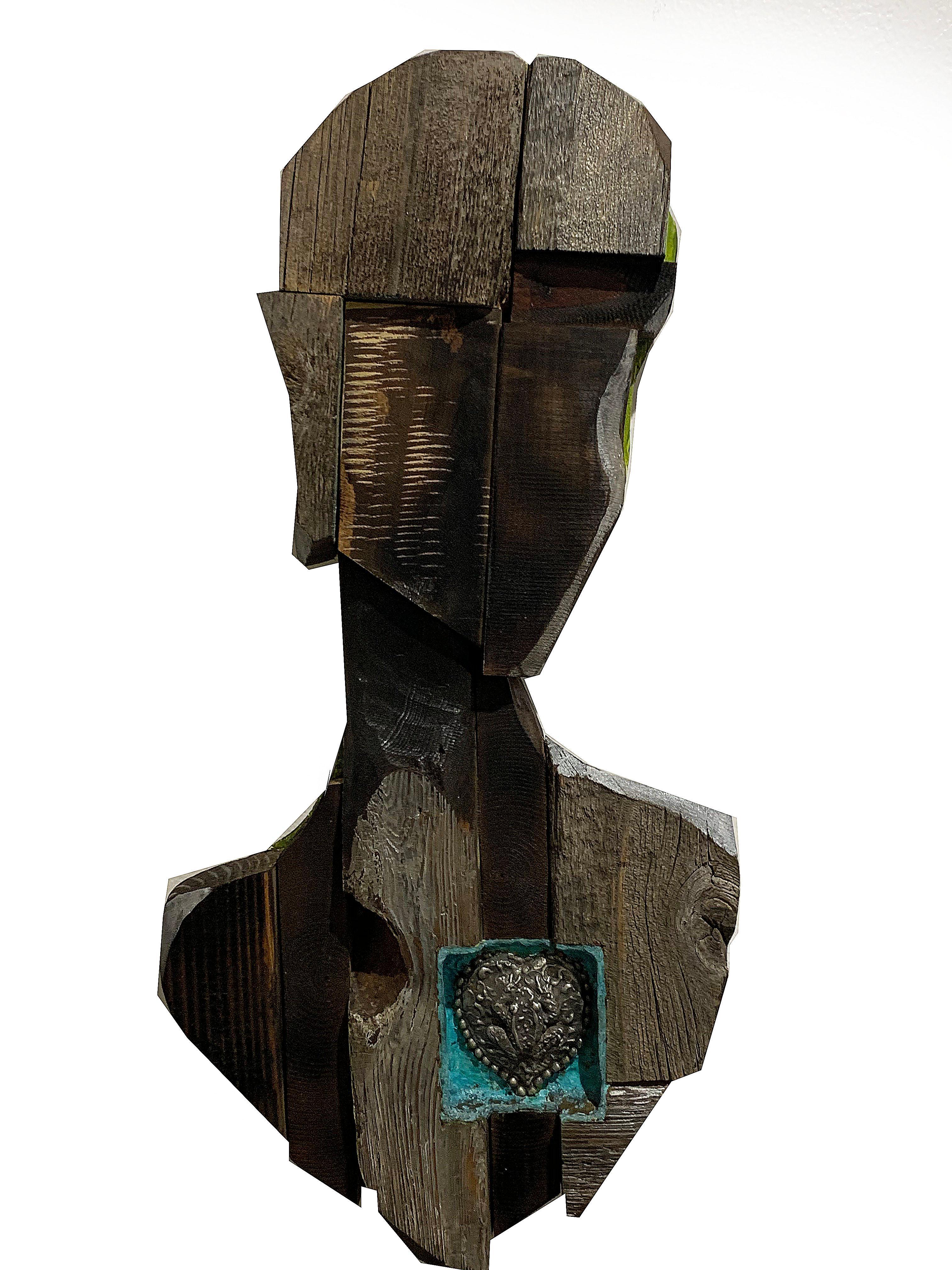Mixed-media Wood Hanging Sculpture