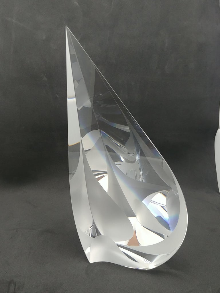 Very nice sculpture in polished/ cut glass, by the well American artist, Christopher Ries. Signed and dated 2000, at edge as shown.