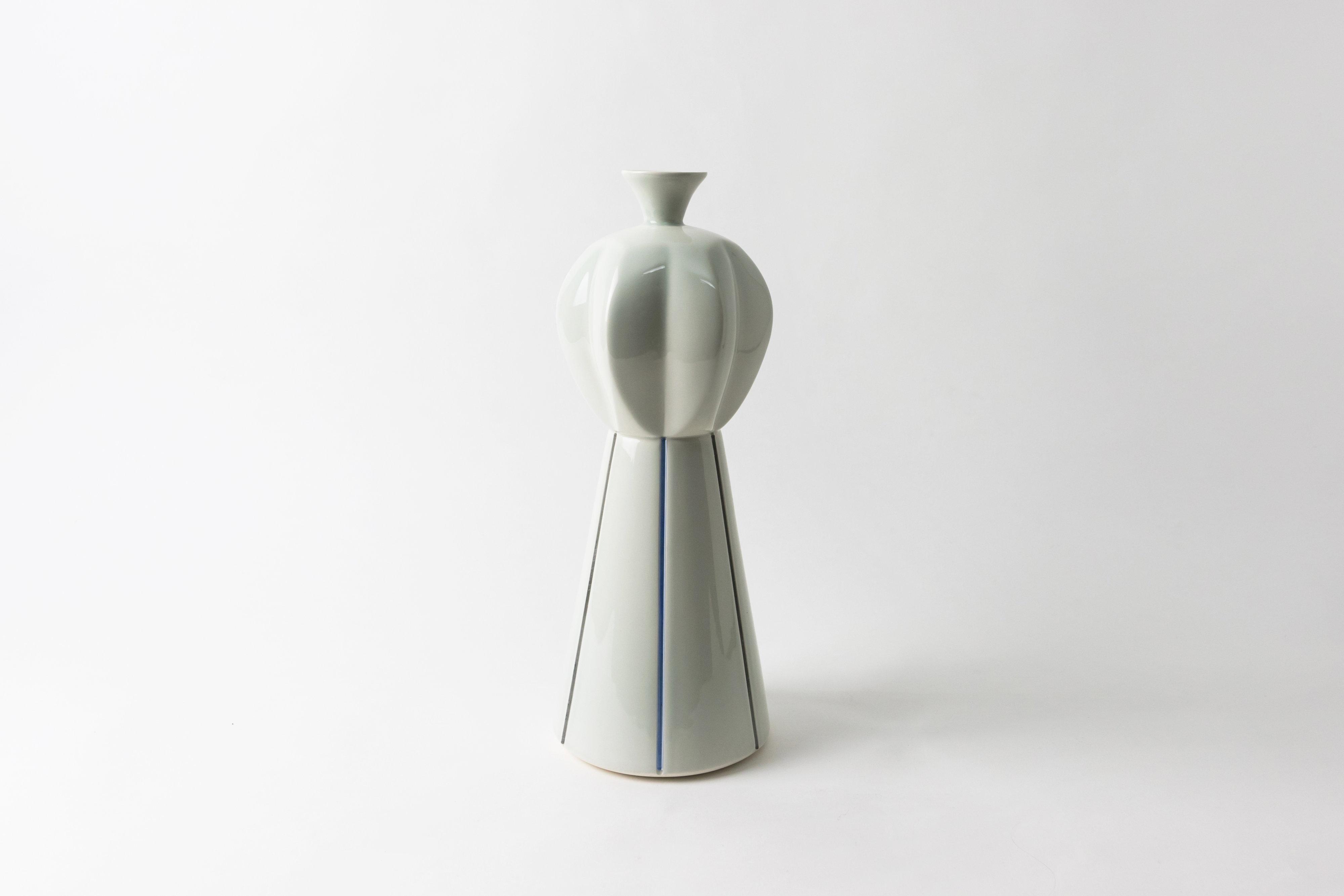 Christopher Riggio, Tall Striped Vase, 2020, Earthenware, Glass