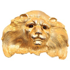 Christopher Ross Belt Buckle Extraordinary Lion Head 24kt Gold Plate Vintage 80s