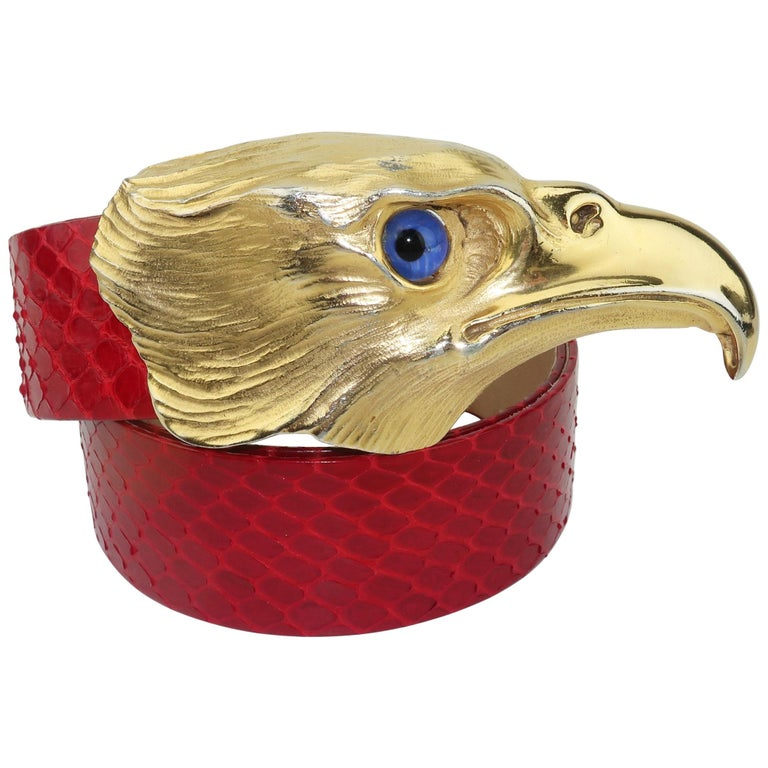 Christopher Ross Gold Eagle Buckle With Lizard Skin Belt, 1984 For Sale