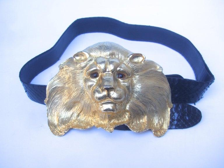 Christopher Ross Massive Gilt Metal Lion Buckle Belt c 1984 For Sale 6