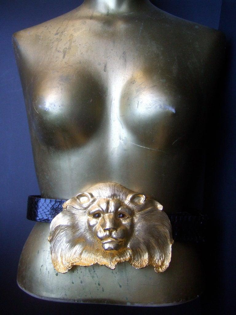 Christopher Ross Massive Gilt Metal Lion Buckle Belt c 1984 For Sale 7