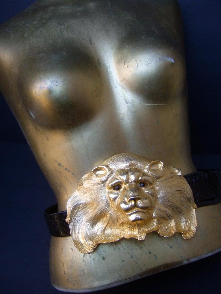 Beige Christopher Ross Massive Gilt Metal Lion Buckle Belt c 1984 For Sale