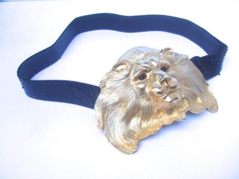 Women's Christopher Ross Massive Gilt Metal Lion Buckle Belt c 1984 For Sale