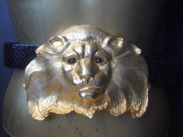 Christopher Ross Massive Gilt Metal Lion Buckle Belt c 1984 For Sale 1