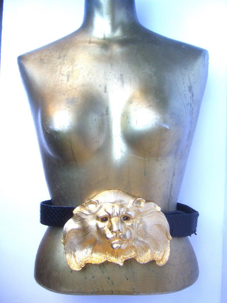 Christopher Ross Massive Gilt Metal Lion Buckle Belt c 1984 For Sale 3