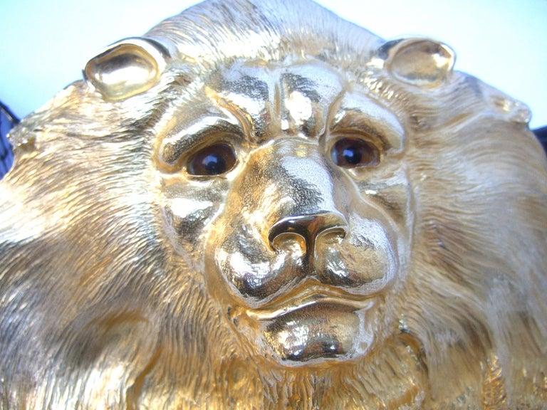 Christopher Ross Massive Gilt Metal Lion Buckle Belt c 1984 For Sale 4