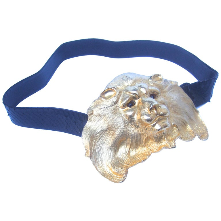 Christopher Ross Massive Gilt Metal Lion Buckle Belt c 1984 For Sale
