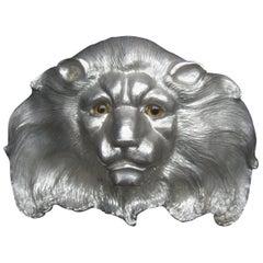 Christopher Ross Massive Huge Scale Artisan Silver Metal Lion Belt Buckle c 1984