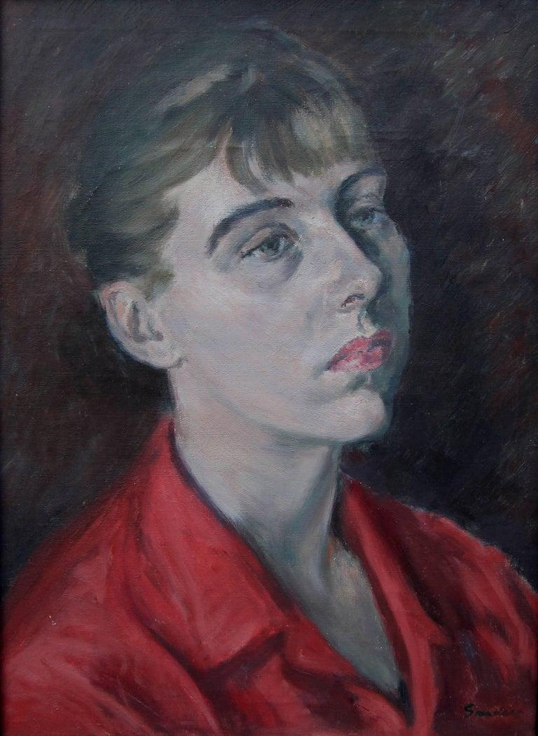 Lady in Red - British Impressionist oil painting portrait - Royal Academy artist - Black Portrait Painting by Christopher Sanders