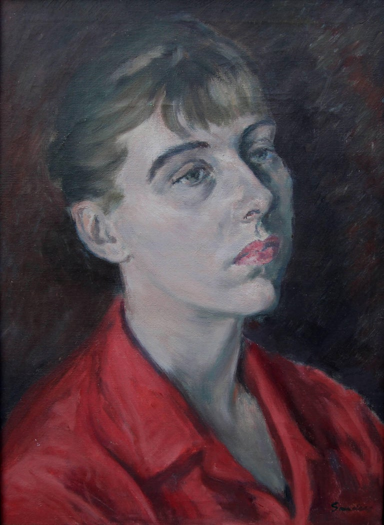 Lady in Red - British Impressionist oil painting portrait - Royal Academy artist - Painting by Christopher Sanders