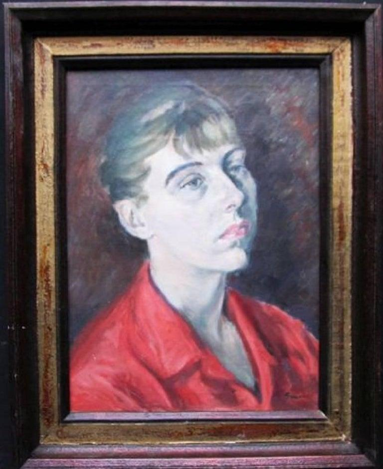 An original circa 1960  oil on canvas female portrait painting by Royal Academy artist Christopher Sanders. A fine example of a Modern British portrait. In good condition and framed in an original gallery frame. This is a vibrant painting by a