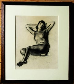 Nude - British Art Deco drawing reclining erotic female nude portrait RA artist
