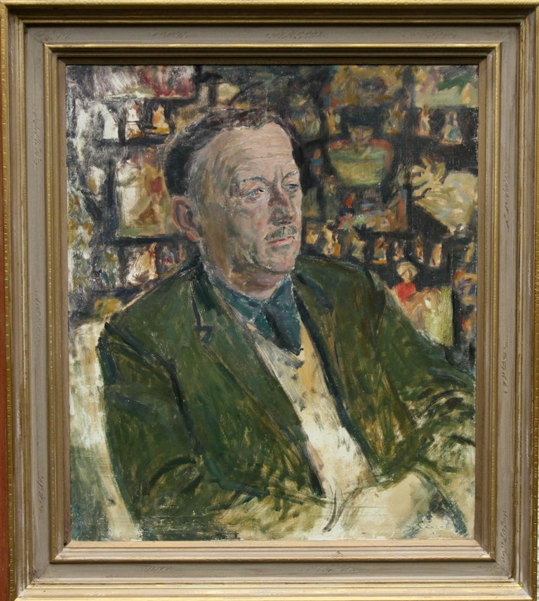 Christopher Saunders Portrait Painting - A Portrait of Ronald Morton ESQ - British oil painting - Gentleman in Green