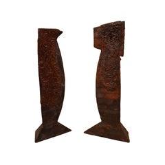 Christopher Schumaker Set of 2 Wood, Lead and Bronze Sculptures