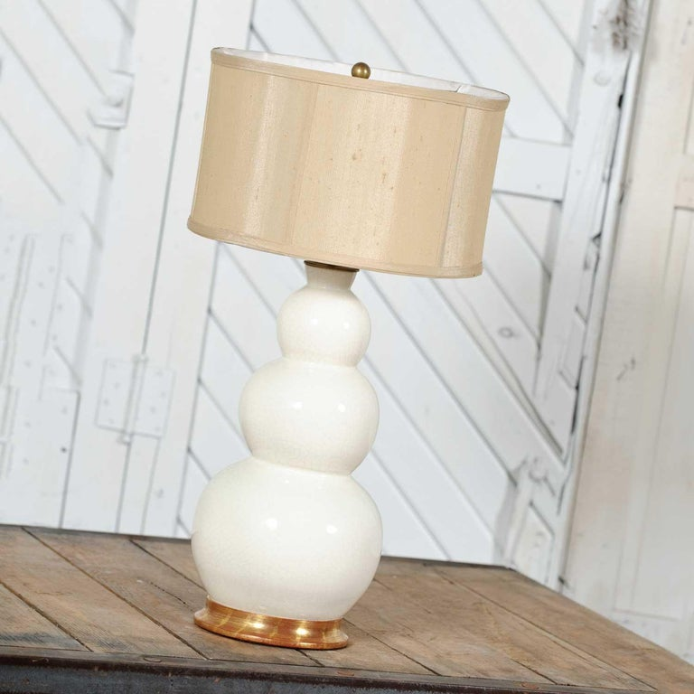 Modern Christopher Spitzmiller Blanc De Chine Three Ball Large Ceramic Lamp For Sale