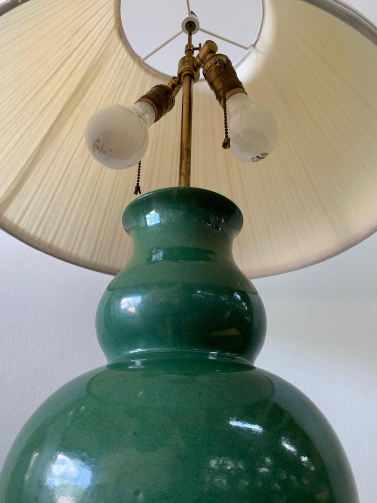 American Christopher Spitzmiller Vintage Jade Glazed Green Lamp For Sale