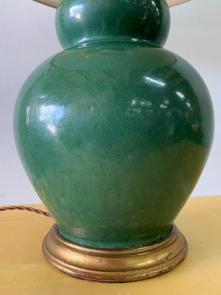 Contemporary Christopher Spitzmiller Vintage Jade Glazed Green Lamp For Sale