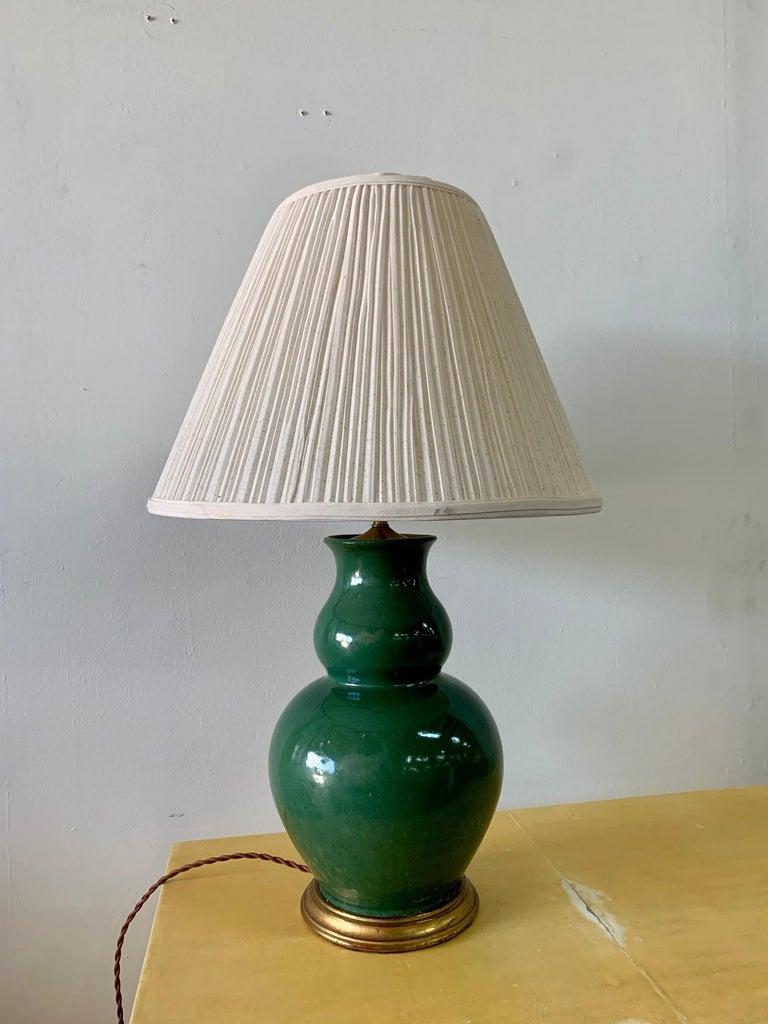 Porcelain Christopher Spitzmiller Vintage Jade Glazed Green Lamp For Sale