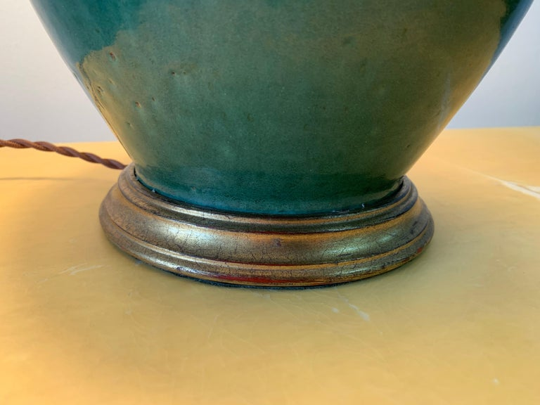 Christopher Spitzmiller Vintage Jade Glazed Green Lamp For Sale 2
