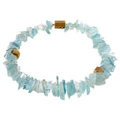 Christopher Walling Mirror Cut Natural Aquamarine 18 Karat Gold Neckalce