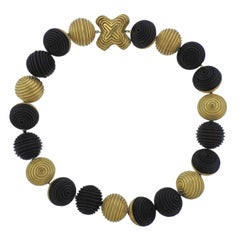 Christopher Walling Unusual Ebony Gold Bead Necklace