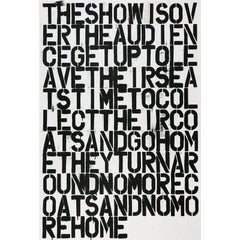 Christopher Wool, Untitled (The Show is Over), Offset Lithograph on Paper, 1993