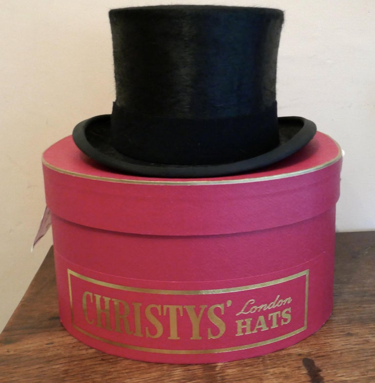 """Christy's Of London Top Hat, Evening Wear,Horse Riding, Dressage or Hunting  A Fine quality Hat, in Original Christy Box, 1"""" hat band, silk and leather Lined, size 63/4 inches For Formal Dress, Dressage or Hunting Worn only once, in good"""