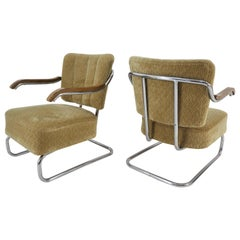 Chrom Bauhaus Armchairs Robert Slezak for Hynek Gottwald of the 1930s
