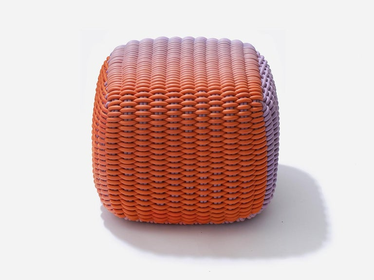 The Desert Sky colorway is inspired by the skies of the American Southwest. A bold, inspired mix of lush lavender and rusty orange.  Stools are fully outdoor/indoor. Our soft, durable silicone textile is stretched over high-performance