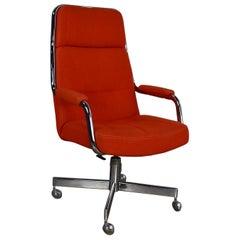 Chromcraft Adjustable Armed High Back Rolling Office Chair Orange Hopsack Fabric