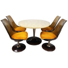 Chromcraft Amber Lucite Tulip Chairs and Table Set