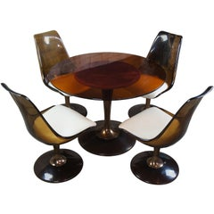 Chromcraft Atomic Mid-Century Modern Smoked Lucite Glass Table & 4 Tulip Chairs
